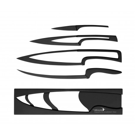 4 kitchen knives Meeting black finish